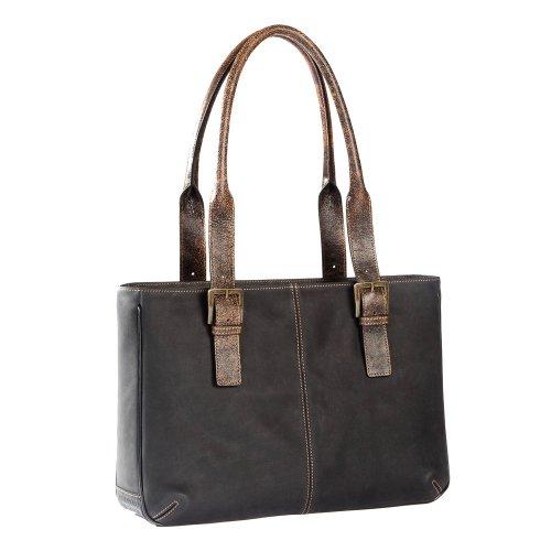 Boconi Woman's Leon E/W iPad Tote in Black leather