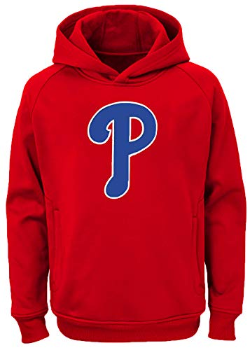 Outerstuff MLB Kids 4-7 Team Color Polyester Performance Primary Logo Pullover Sweatshirt Hoodie (7, Philadelphia Phillies)