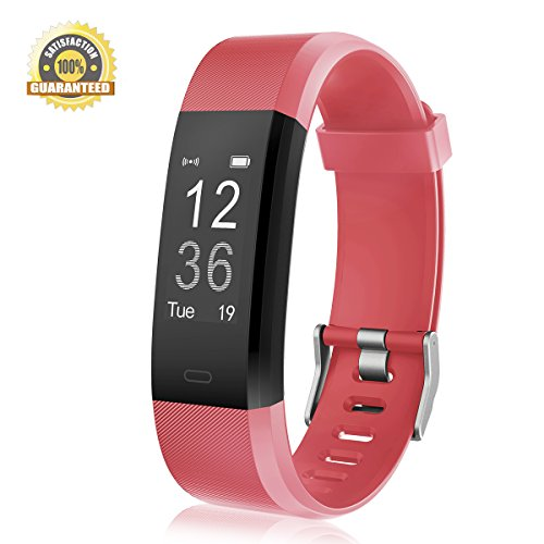 Fitness Tracker Heart Rate Monitor Gemeita Sport Smart Wristband IP67 Waterproof Wearable Activity Tracker with Steps&Calorie Burned and Distance Counter Sleep Monitor Pedometer (red)