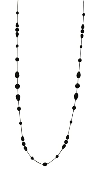 Vintage Style Jewelry, Retro Jewelry LaRaso & Co Long Necklace for Women Handcrafted Black Czech Glass Crystal Bead $23.99 AT vintagedancer.com