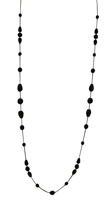 LaRaso & Co Long Necklace for Women Handcrafted Black Czech Glass Crystal Bead