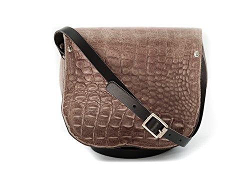 Braun und schwarz Krokodil-Musterer Leder Sattel Crossbody Handtasche mit Schnalle und verstellbarem Riemen
