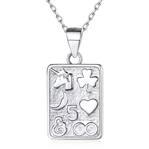 (925 Sterling Silver Poker Pendant Necklace Square Playing Card Lucky Charm Necklace Punk Rock Jewelry for Women, 18'')