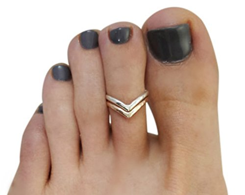 14K Gold Filled Chevron V Adjustable Toe Ring for Women Foot Jewelry - Chevron Gold 14k