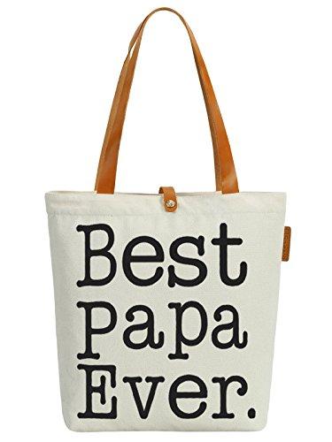 So'each Women's Best Papa Letters Graphic Top Handle Canvas Tote Shoulder Bag