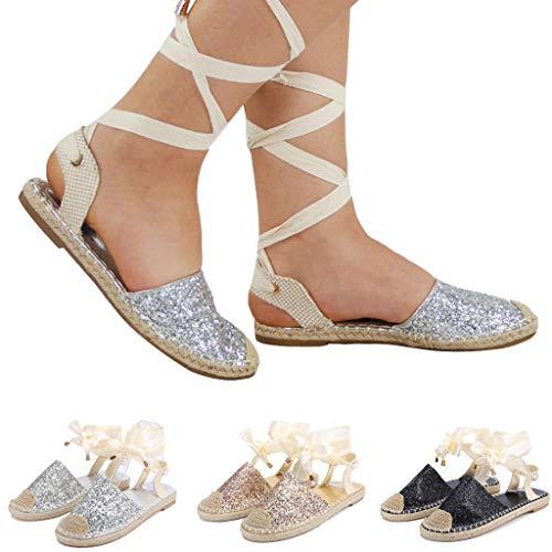 Platform Sandals Espadrille for Women Ankle Wrap Espadrilles Lace Up Classic Sandals Summer Shoes (US:9.5-10, Silver)