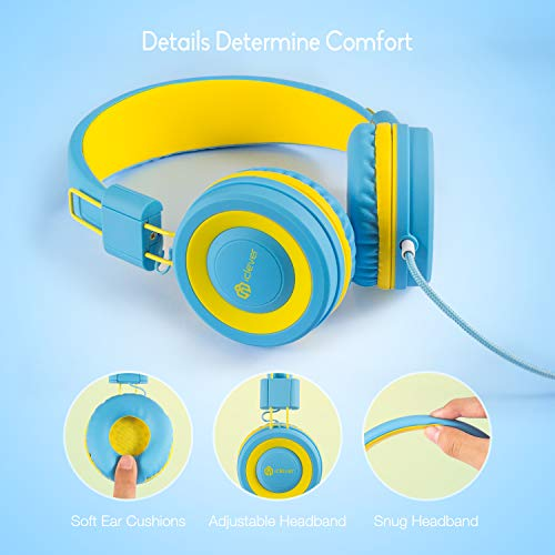 560edf1d68d iClever Kids Headphones Girls - Wired Headphones Kids, Adjustable Headband,  Stereo Sound, Foldable, Untangled Wires, 3.5mm Aux Jack, 94dB Volume  Limited ...
