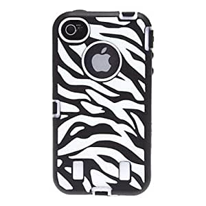 Buy 2-in-1 Design Zebra-Stripe Pattern Silicone Soft Case with Hard Inside Cover for iPhone 4/4S (Assorted Colors) , Purple