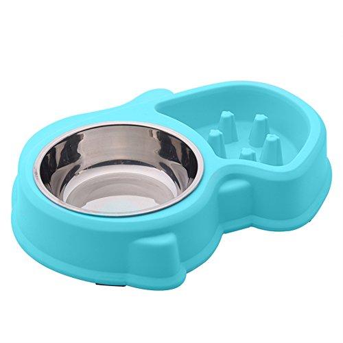 EBRICKON Dog Bowls Slow Feeder Fun Interactive Anti-Choke Pet Bowl Non-Slip Drink Water Bowl Healthy Food Bowl Bloat Stop Happy Foraging (Blue) by EBRICKON