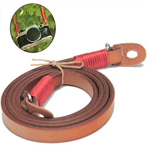 Contyu Vintage Genuine Leather Camera Neck Shoulder Strap for DSLR & Mirrorless with Ring (Light Brown, Retro Style, Thin Belt)| Fuji Sony Olympus Lecia Canon Nikon etc