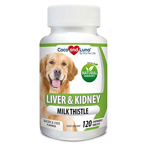Vita Pet Life Milk Thistle for Dogs - Liver and Kidney Support, Detox, DHA, EPA, Hepatic Support, Omega 3 Fish Oil, VIT B1,B2,B6,B12, Kidney Stone Prevention - 120 Natural Chew-able Tablets.