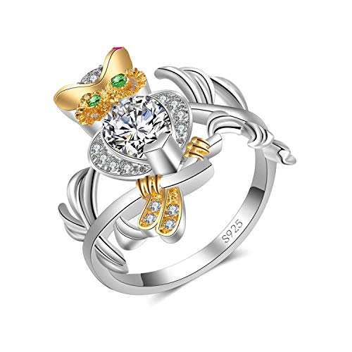 Amoilys Attractiveia Frog Design Ring Elegant Round Animal Ring for Women Accessories Unique Bague, 10 ()