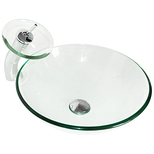 Sliverylake Modern Round Bathroom Clear Glass Vessel Sink with Waterfall Chrome Faucet & Pop-up Drain Combo Wash Basin