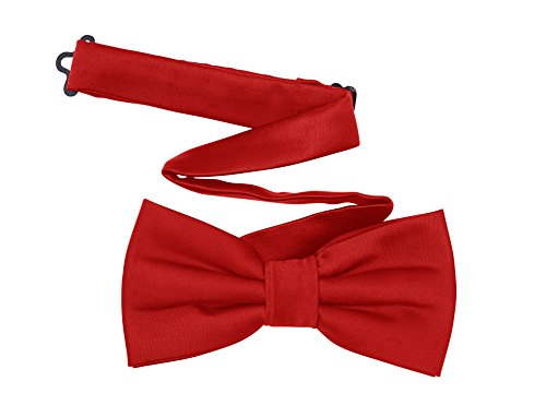 Red Satin Bow Tie (Harvest Male Red Bow Tie - Pre-tied Adjustable Length Formal Tuxedo Satin Solid Color - Men & Teen Boys)