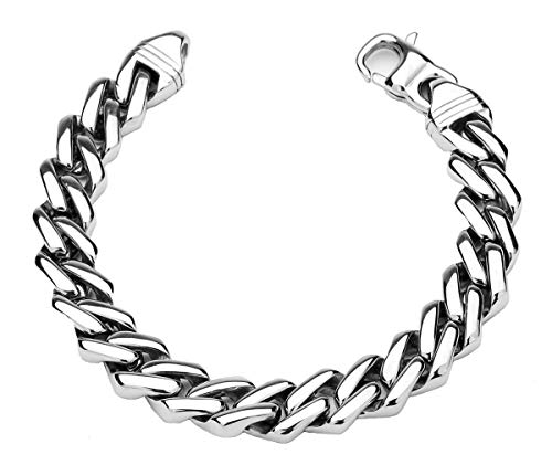 Just Lsy Amazing 316L Stainless Steel Men's Punk Biker Bracelet High Polished Silver Black Chain Link 8.3 inch (21cm) LSY-053-2