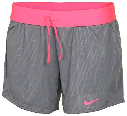 NIKE Women's Dri-Fit Embossed Attack Training Shorts-Cool Grey/Pink-XS