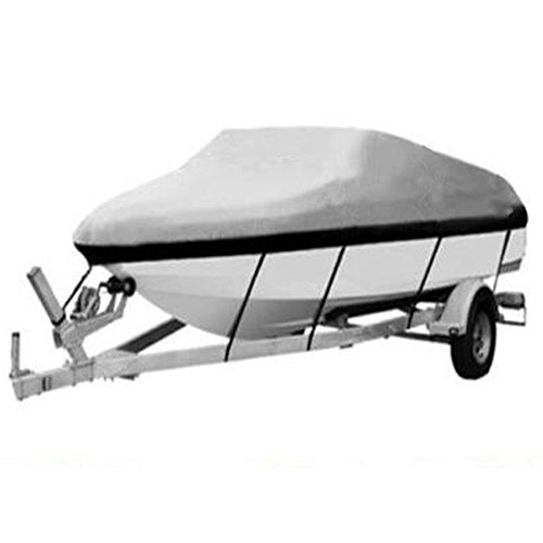 Boat Cover Heavy Duty 210D Marine Grade oxford fabric Trailerable Waterproof Fits 17-19ft Length 96″ Beam Width V-Hull Tri-Hull Trailer Fishing Ski Runabout Boat Cover Gray
