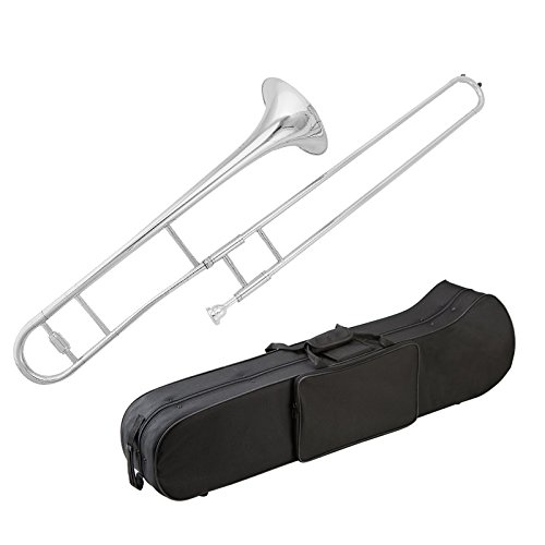 Glory Brass B Flat Trombone with Case and Mouthpiece, Nickel Silver Color, Student Trombone by GLORY