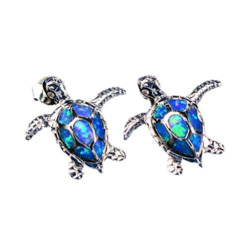 Hermosa Jewelry Sets Pendants Stud Earrings 925 Sterling Silver Sea Turtle Blue Opal (Earrings) (Blue Studs Sea)