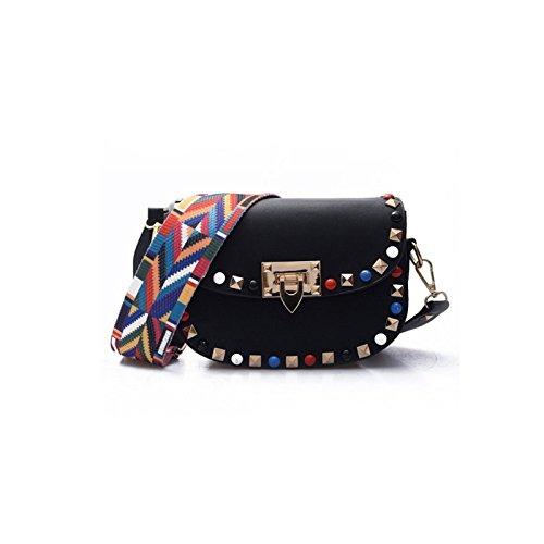 JUWOJIA Nueva Moda Mujer Bolso Messenger Portátil Mini Bolsa De Playa Casual(14×20Cm),Negro Negro