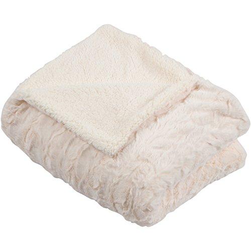 SLPR Faux Fur Throw Blanket with White Fleece/Sherpa (58