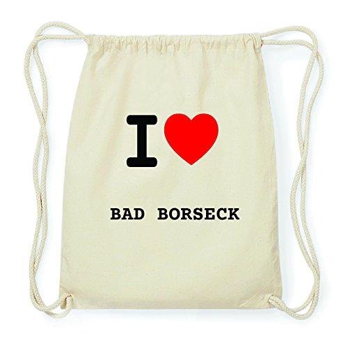 JOllify BAD BORSECK Hipster Turnbeutel Tasche Rucksack aus Baumwolle - Farbe: natur Design: I love- Ich liebe