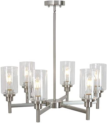 VINLUZ 6 Light Contemporary Chandelier Brushed Nickel Modern Pendant Lighting Cylinder Clear Glass Shaded Classic Ceiling Light Fixtures for Living Room Dining Room Kitchen