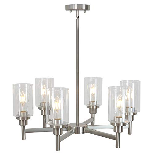 VINLUZ 6 Light Contemporary Chandelier Brushed Nickel Modern Pendant Lighting Cylinder Clear Glass Shaded Classic Ceiling Light Fixtures for Living Room Dining Room Kitchen ()