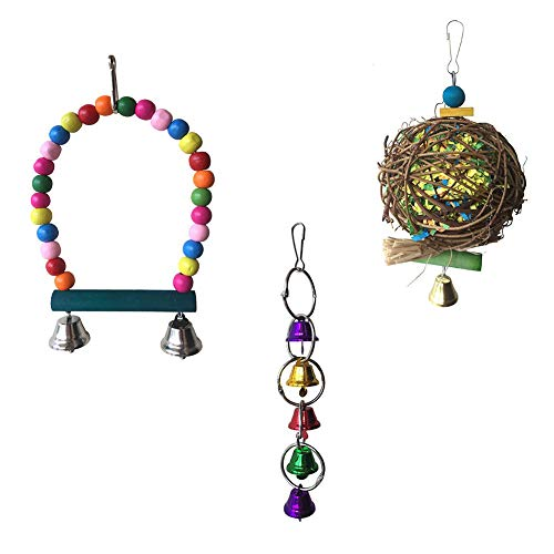 DDS5391 Bird Chewing Toys,Parrot Bite Toy Bird Toy Swing Brushed Rattan Ball Bell String 3 Piece Set Random Color 3pcs