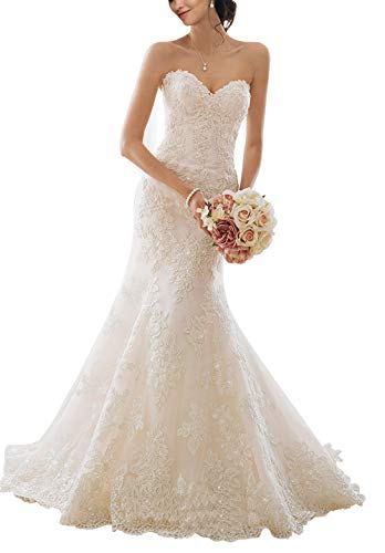 (Lily Wedding Womens Strapless Sweetheart Lace Mermaid Wedding Dress 2019 Bridal Gown Size 10)