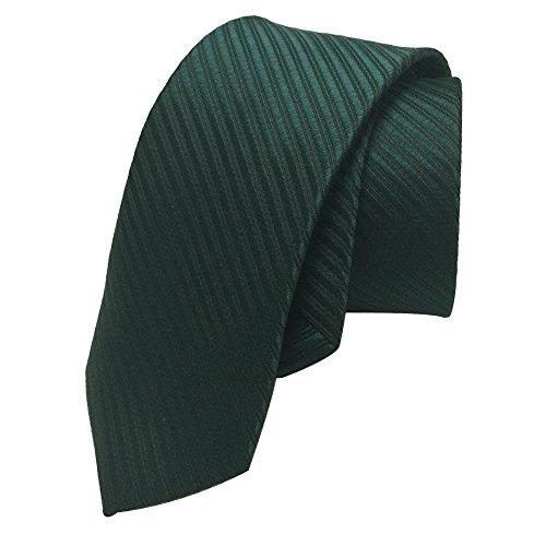 Skinny 2' Necktie Tie (AINOW 2'' Skinny Tie Necktie with Stripe Textured - Various Colors (Dark Green))