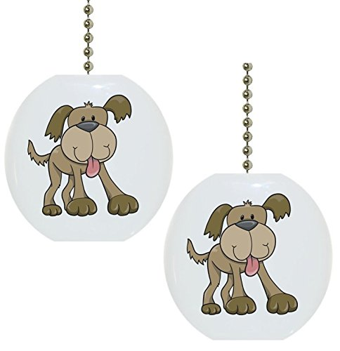 Set of 2 Cute Brown Dog Animal Solid CERAMIC Fan Pulls