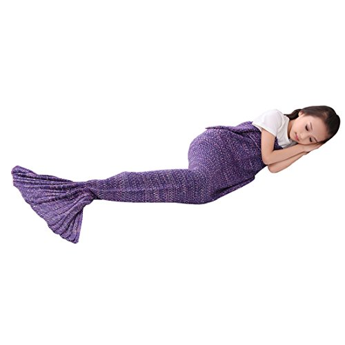 Roluck Mermaid Tail Blanket, Handmade, Warm Keeper, Autumn Winter, Living Room Sleeping Use Blanket for Girls, Purple