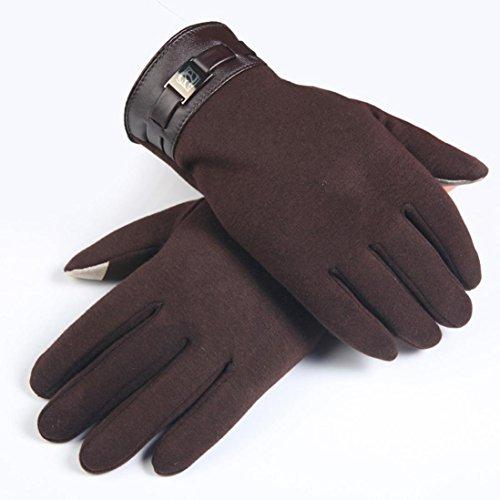 FAPIZI Winter Mens Full Finger Smartphone Touch Screen Cashmere Gloves Mittens (Brown)