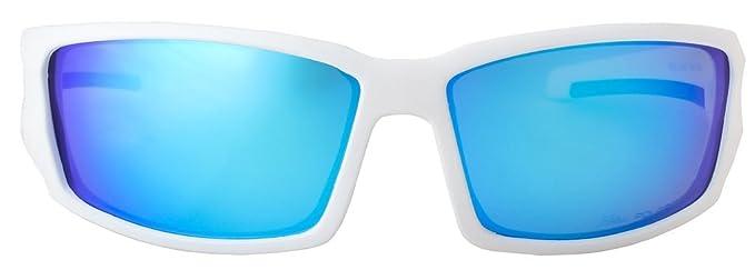 HZ Séries Hyperbull - Lunettes de soleil Polarized Premium de Hornz – Cadre blanc mat – Lunette de miroir bleu NWaA4