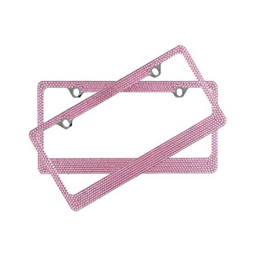 Popular Bling 7 Row Pink Color Crystal Metal Chrome License Plate Frame With Screw Caps - 2 Frames
