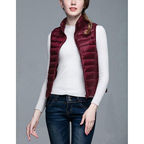 Ultra Short Packable Vest Puffer Lightweight Women's Down Jacket Wine 1Uwq1dB