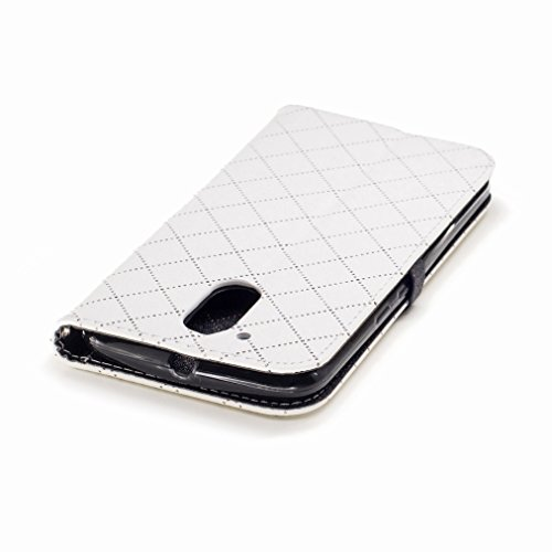 Yiizy Motorola Moto G4 Custodia Cover, Amare Design Sottile Flip Portafoglio PU Pelle Cuoio Copertura Shell Case Slot Schede Cavalletto Stile Libro Bumper Protettivo Borsa (Bianco)