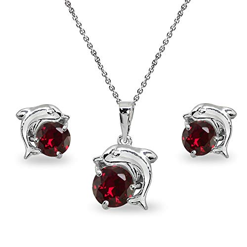 Sterling Silver Created Ruby Round-Cut Dolphin Animal Dainty Pendant Necklace & Stud Earrings Set ()