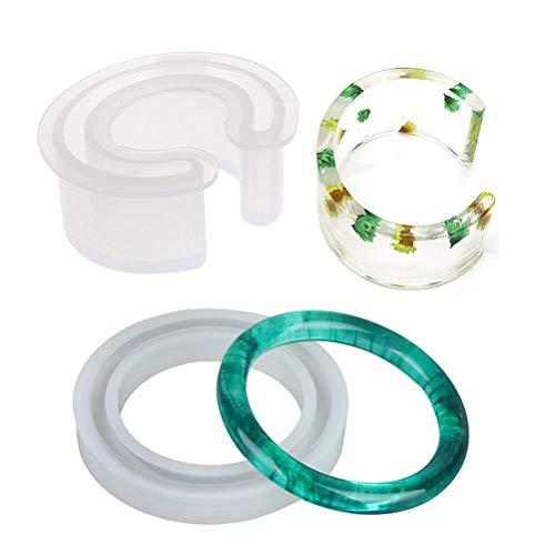 WarmShine Silicone Bangle Mold Round Bracelet C Font Bracelet Mold, Silicone Bracelet Casting Mould Resin Bangle Open Cuff Bracelet Jewelry Mold ()