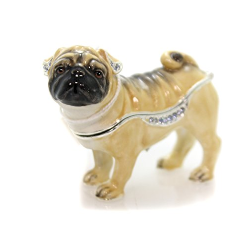(Hinged Trinket Box Pug ENAMELED Box Metal Puppy Dog Best Friend 3937)