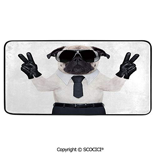 Rectangular Area Rug Super Soft Living Room Bedroom Carpet Rectangle Mat, Black Edging, Washable,Pug,Fancy Looking Pug Victory Sign with Both Paws Wearing Cool Print,39
