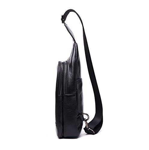 Sling Shoulder Chest Messenger Leather Backpack Pattern Genuine Litchi Pack Black Bike TpxSXwnB