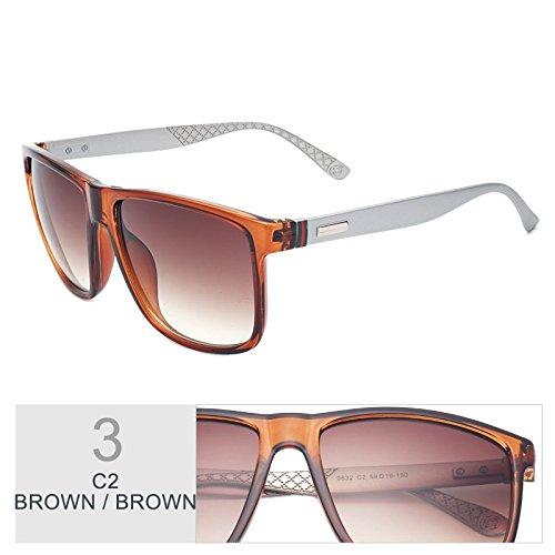 bastidor sol Sunglasses de cuadrado TL Brown sol gafas UV400 Mujer Moda Gafas de marrón Unas Brown marrón enormes 8xPpw