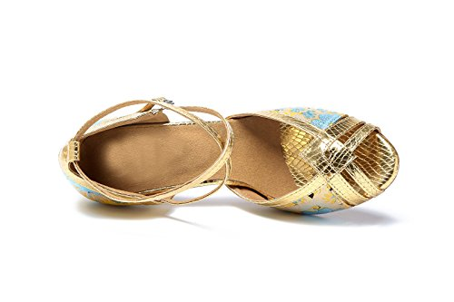 Kevin Moda Kl211 Donna Floreale Sintetico Latino Salsa Tango Sandali Da Sposa In Oro
