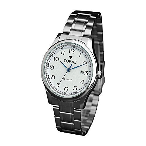 Topaz Men's 5010AMDBK White face, Arabic Numbers Everyday Dress Watch with Stainless steel band.