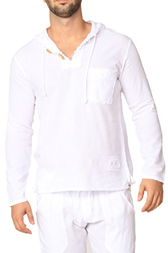 Men's White Shirt 100% Cotton Casual Hippie Shirt V-Neck Drawstring Short Sleeve Beach Yoga Top (White Long Sleeves, Medium)
