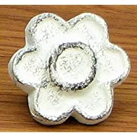 Home Decor- Antique White Flower Drawer Pull Set/12