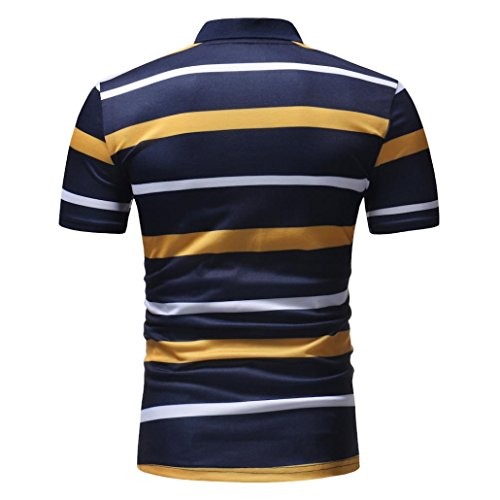 vermers Mens Fashion Polo Shirts Summer Casual Buttons Striped Short Sleeve T Shirt(L, Yellow) by vermers (Image #4)