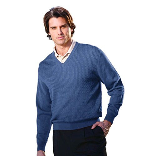 - Monterey Club Men's Cable V-Neck Long Sleeve Sweater #1944 (Slate Blue, X-Large)